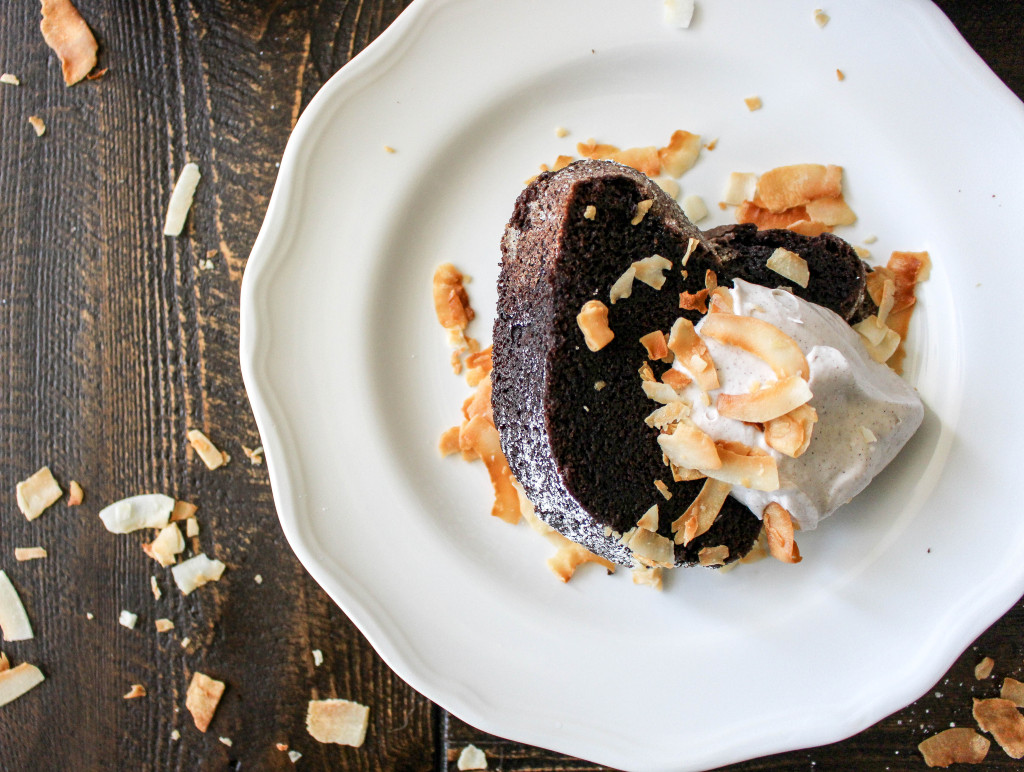 Chocolate-Coconut Pound Cake with Whipped Cinnamon Coconut Cream | Yes to Yolks