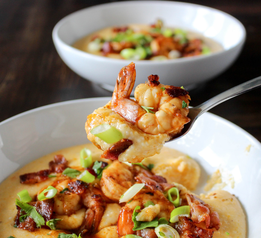 Sweet Potato-Cheddar Grits with Chipotle Shrimp & Bacon   Yes to Yolks