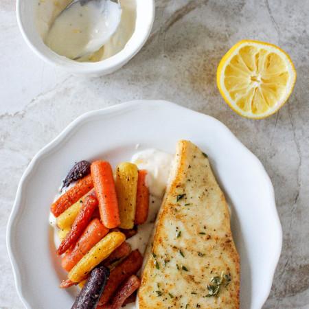 Halibut with Lemon Aioli & Roasted Rainbow Carrots