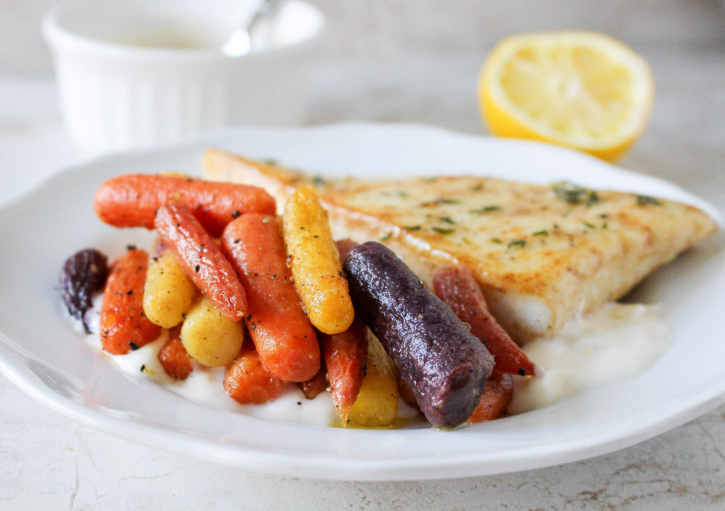 Halibut with Lemon Aioli & Roasted Rainbow Carrots