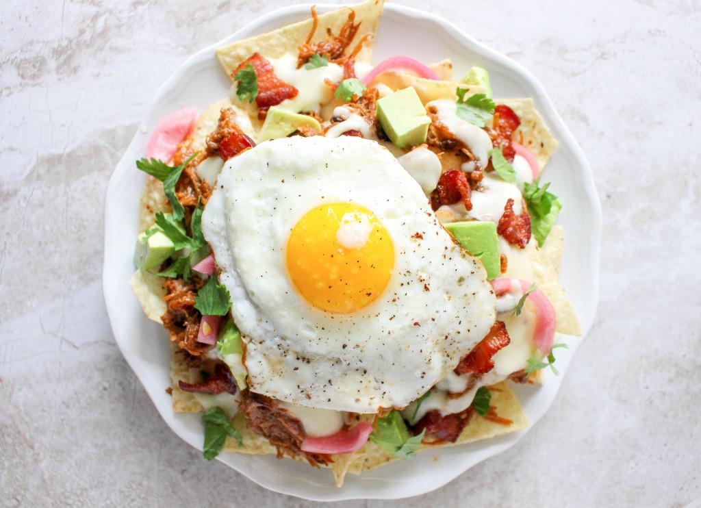 Pulled Pork Breakfast Nachos with Jalapeño-Cheddar Sauce