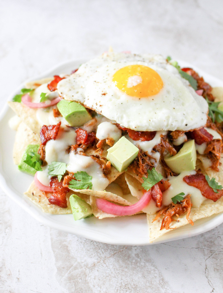 Pulled Pork Breakfast Nachos with Jalapeño-Cheddar Sauce