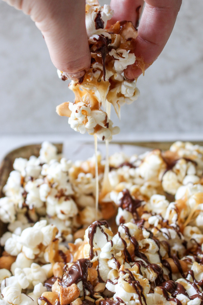 Popcorn with Cashews, Peanut Butter Caramel, & Chocolate Drizzle