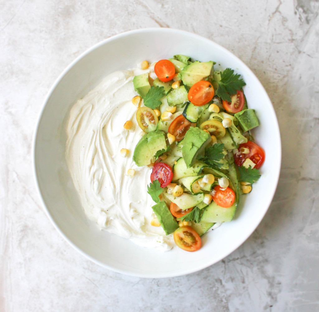 Whipped Feta-Ricotta with Shaved Zucchini, Grilled Corn, & Chimichurri Vinaigrette