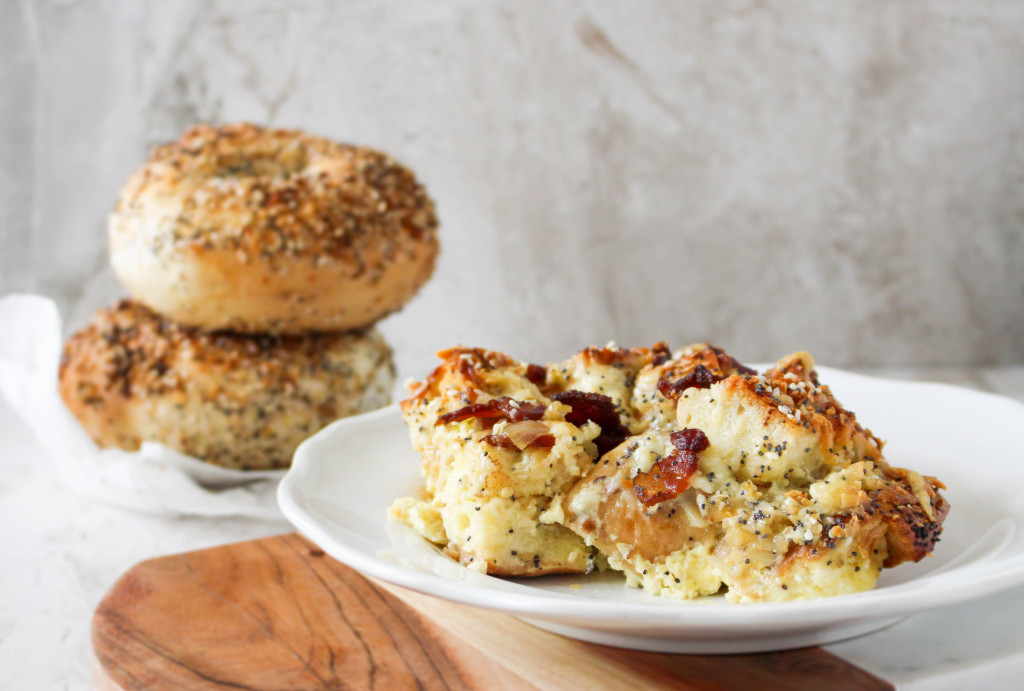 Everything Bagel Breakfast Sandwich Strata - all the flavors of a bacon, egg, and cheese bagel sandwich in a heart breakfast casserole!
