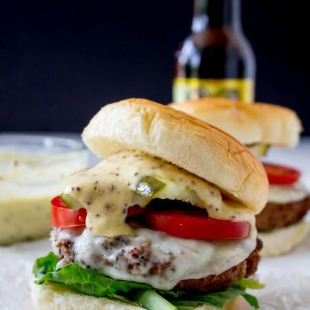 Smoky Beer Burgers with Gouda & Mustard-Horseradish Aioli