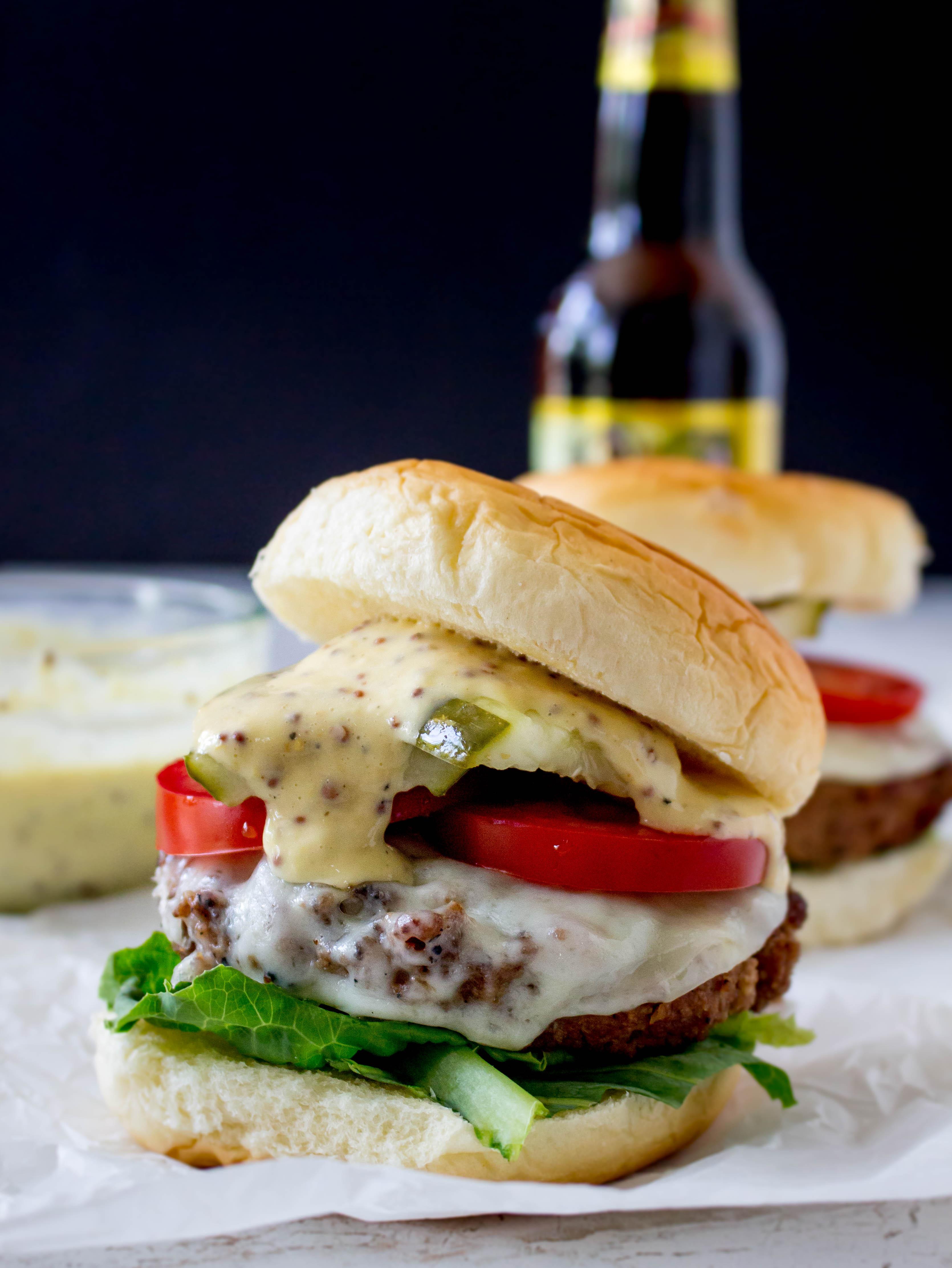 Smoky Beer Burgers With Gouda Mustard Horseradish Aioli