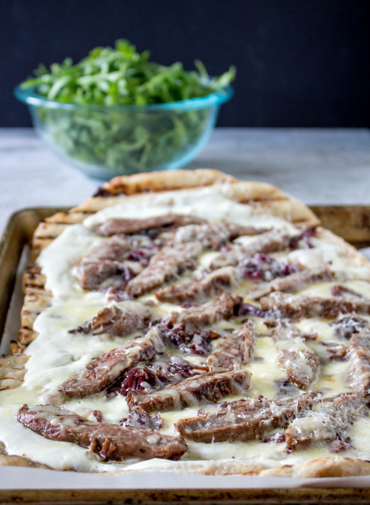 Grilled Skirt Steak Pizza with Balsamic Red Onions & Whipped Ricotta