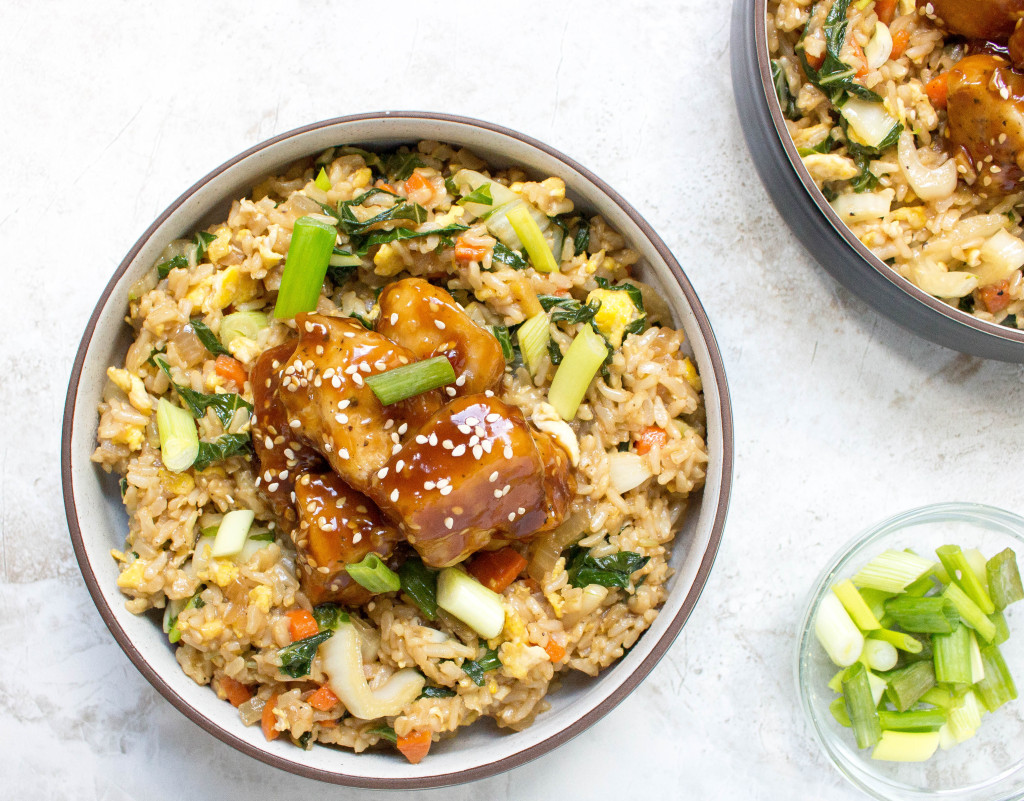 Fried Rice Bowls with Korean Chicken, Bok Choy & Scallions