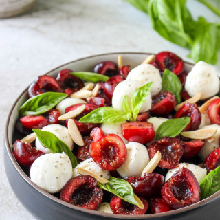Cherry Caprese Salad with Toasted Almonds & Smoked Sea Salt