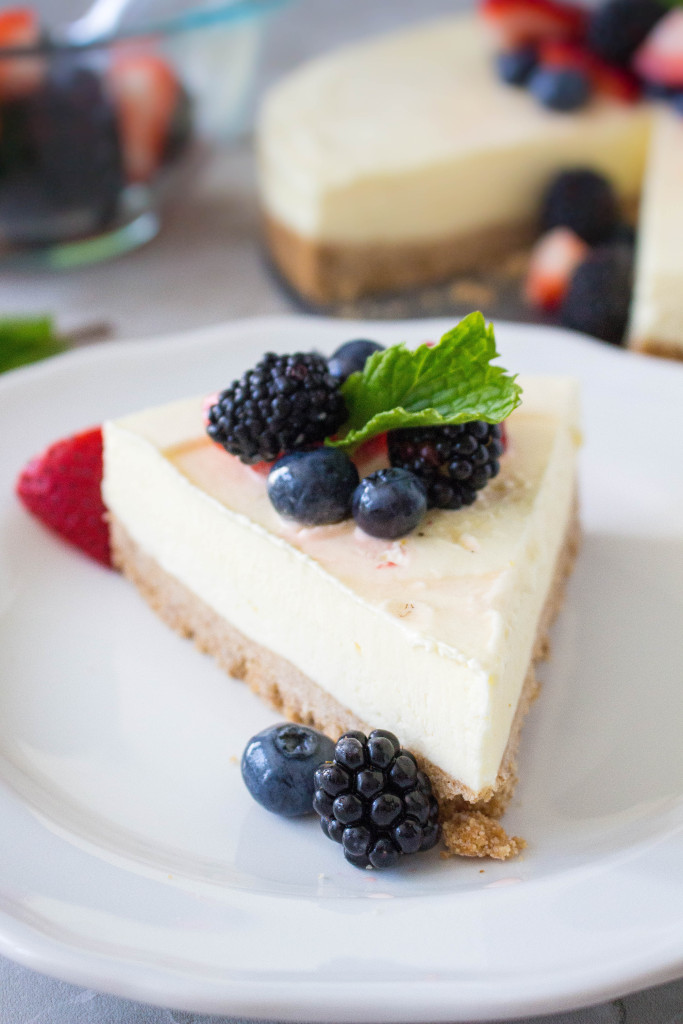 Frozen Limoncello Chiffon Tart with Graham Cracker Crust & Fresh Berries