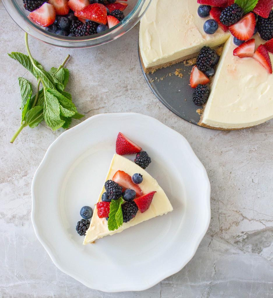 Frozen Limoncello Chiffon Tart with Graham Cracker Crust & Fresh Berries