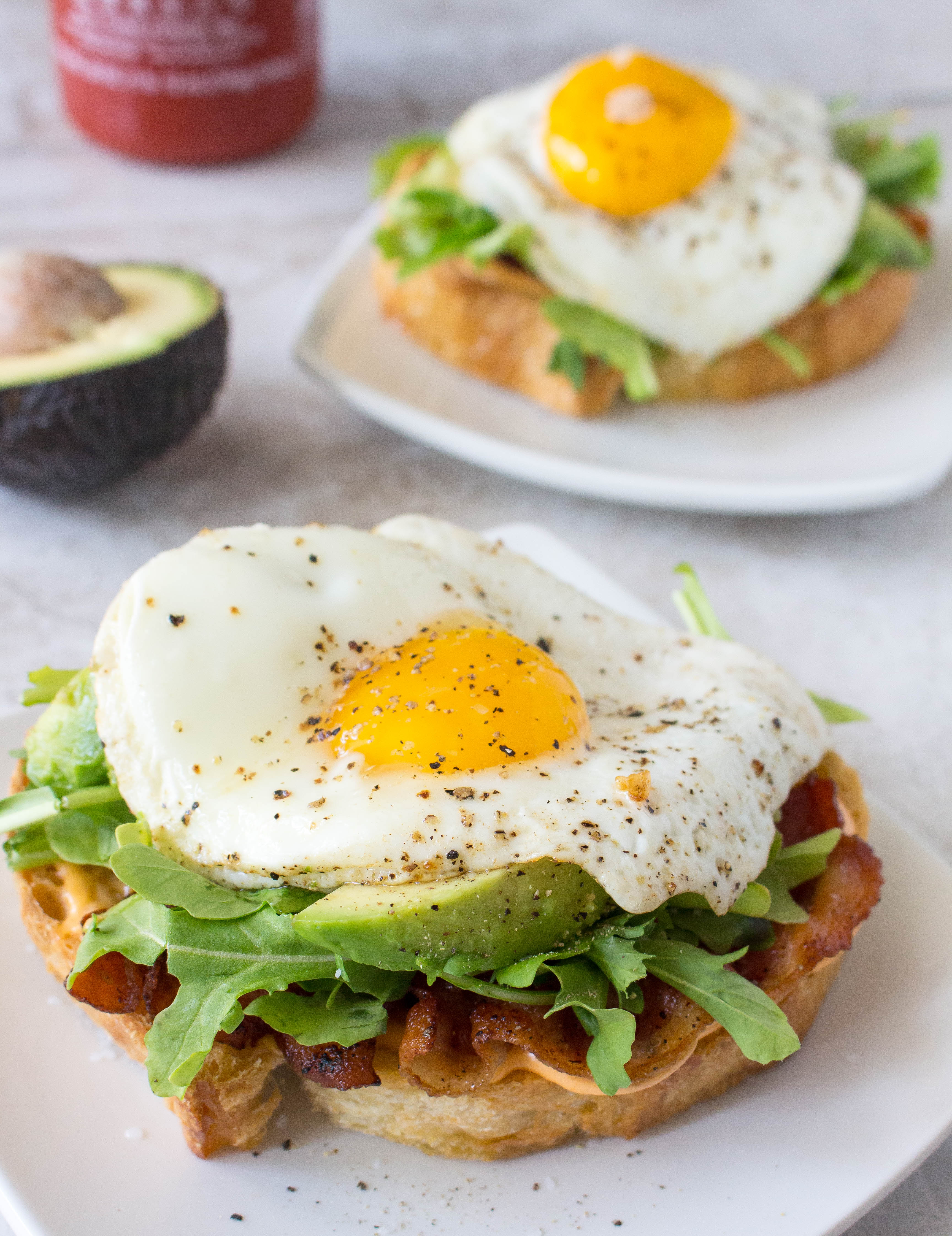 Open-Face Bacon-and-Egg Sandwiches With Arugula Recipes — Dishmaps