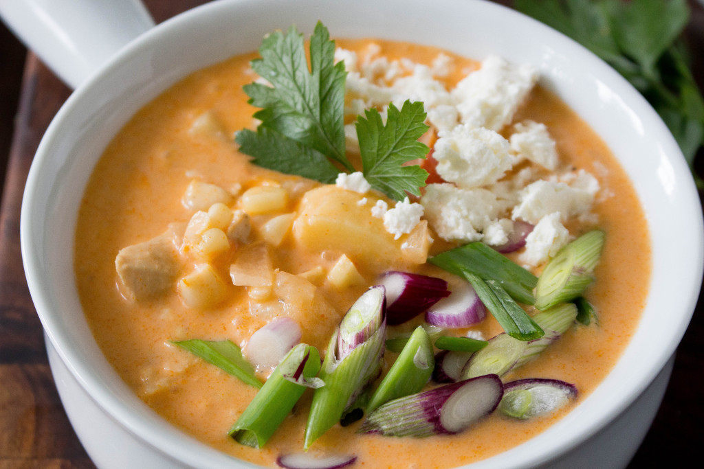 Fresh Corn & Buffalo Chicken Chowder