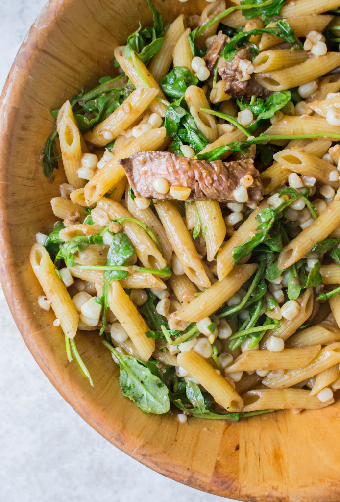 Penne with Steak, Corn, & Arugula