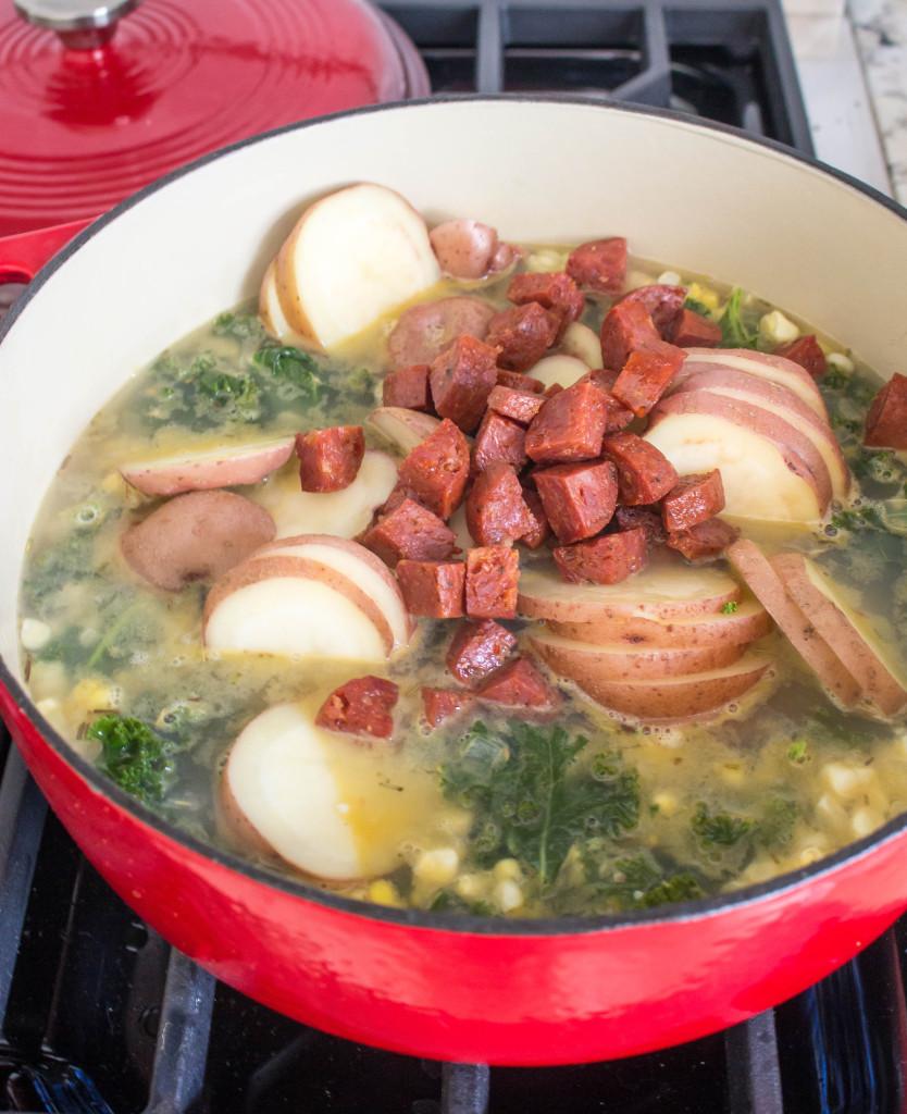 End-of-Summer Kale & Potato Soup with Corn & Chorizo