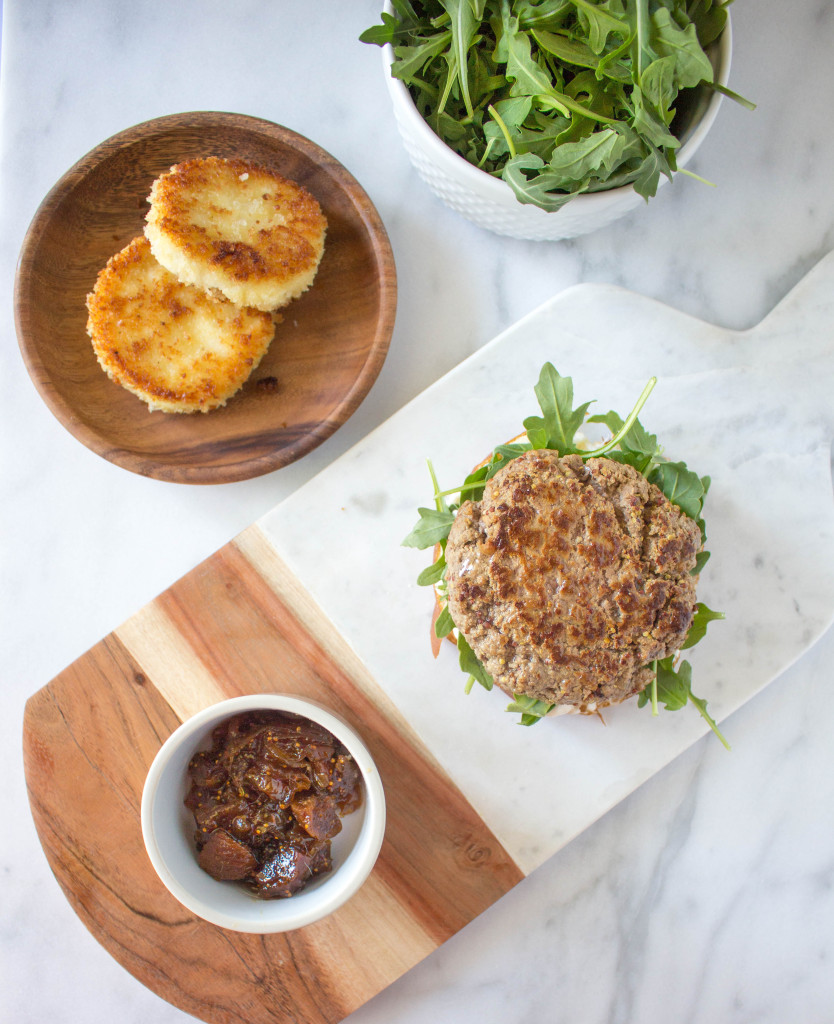Mustard Burgers with Crispy Goat Cheese & Fig-Onion Compote