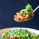 Lightened-Up Cheesy Turkey Chili Pasta Skillet | yestoyolks.com
