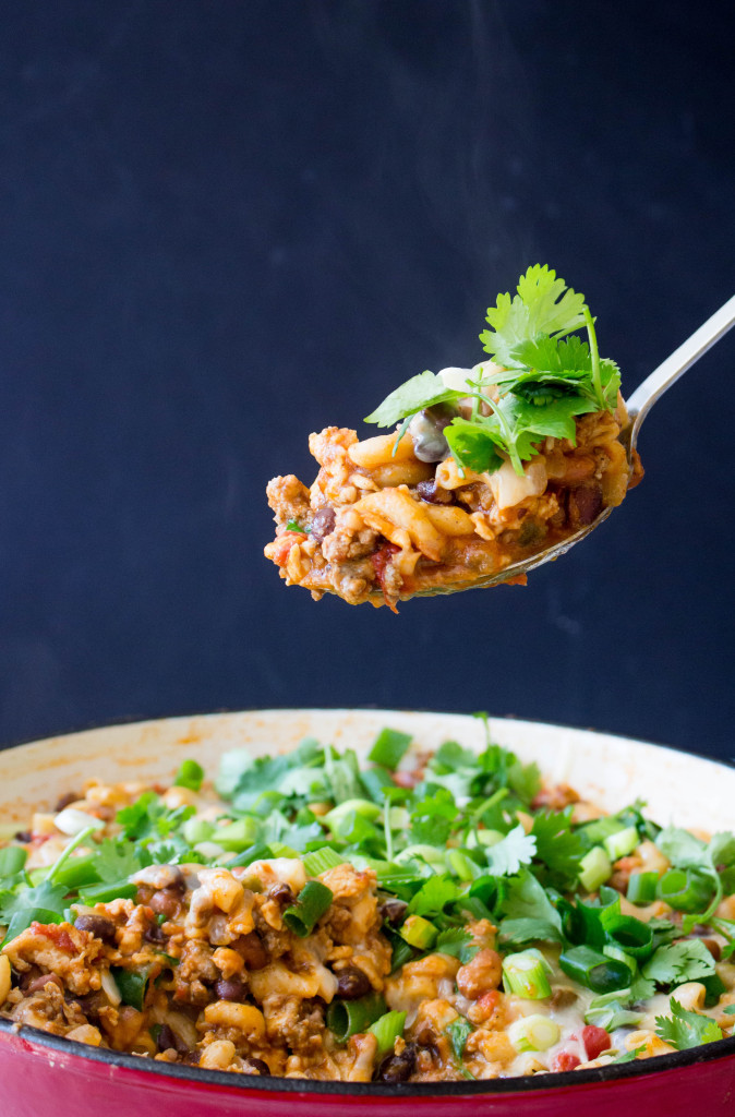 Lightened-Up Cheesy Turkey Chili Pasta Skillet