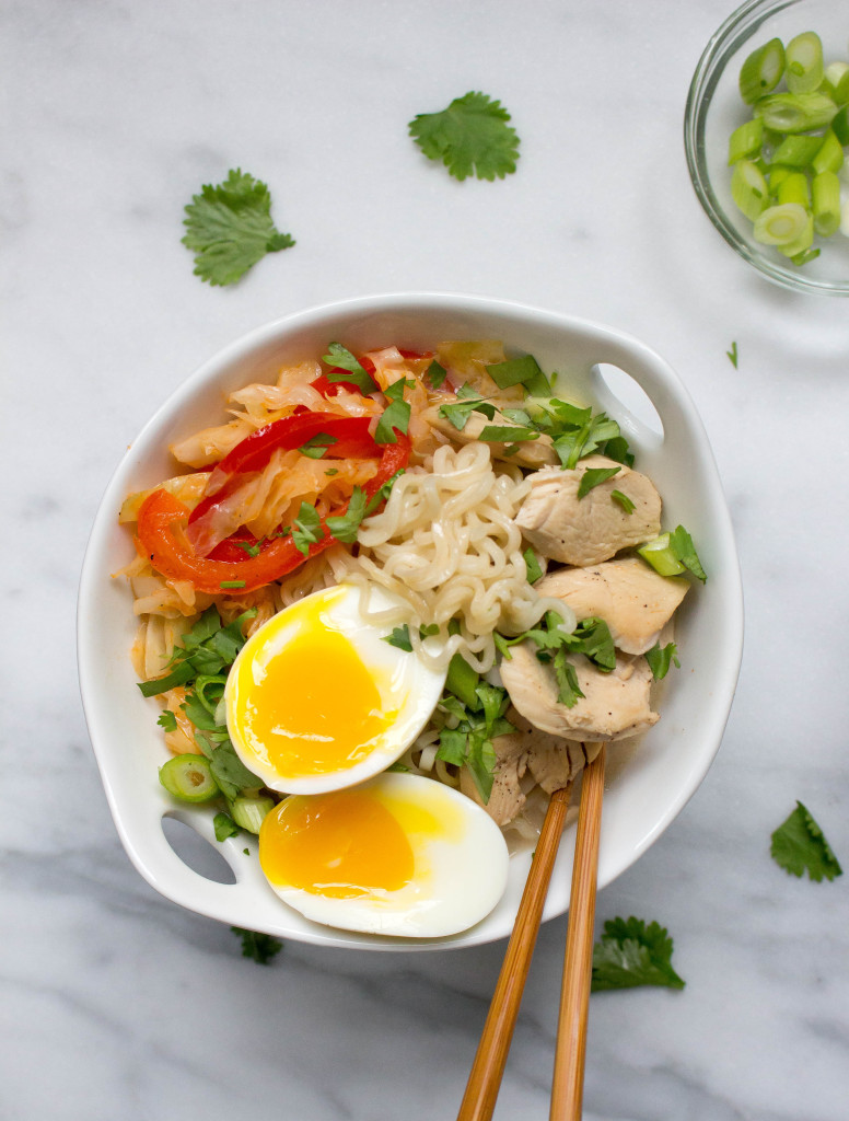 Spicy Thai Coconut Ramen with Chicken & Cabbage | yestoyolks.com