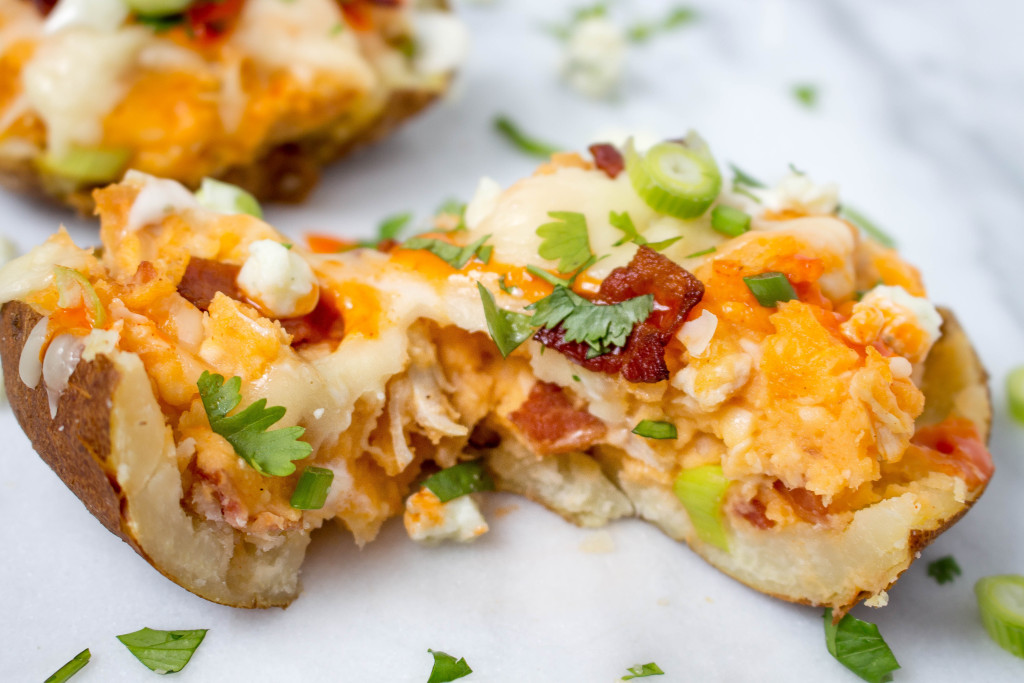 Loaded Buffalo Chicken Baked Potatoes   yestoyolks.com