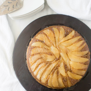 Two Years: Caramelized Cardamom Pear Upside-Down Cake