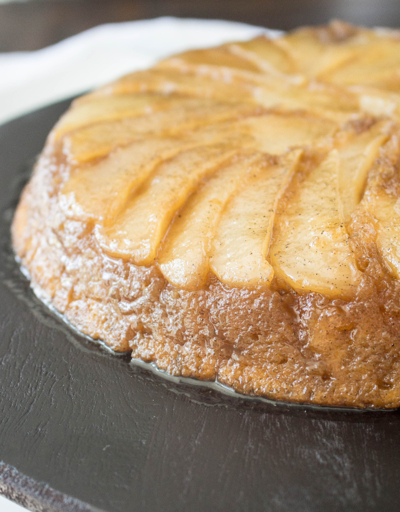 Caramelized Cardamom Pear Upside-Down Cake | yestoyolks.com