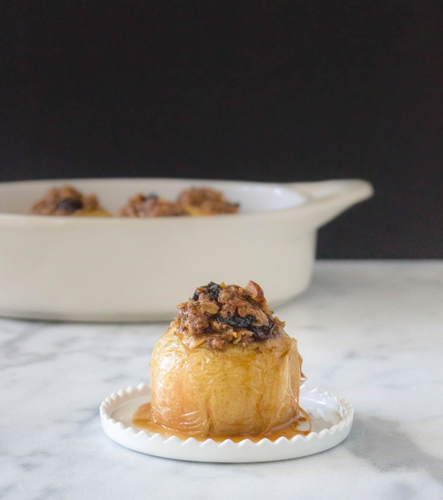 Streusel-Stuffed Baked Apples with Hard Cider Caramel | yestoyolks.com