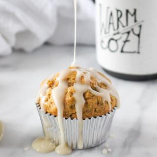 Butternut Oat Muffins with Apple Cider Glaze