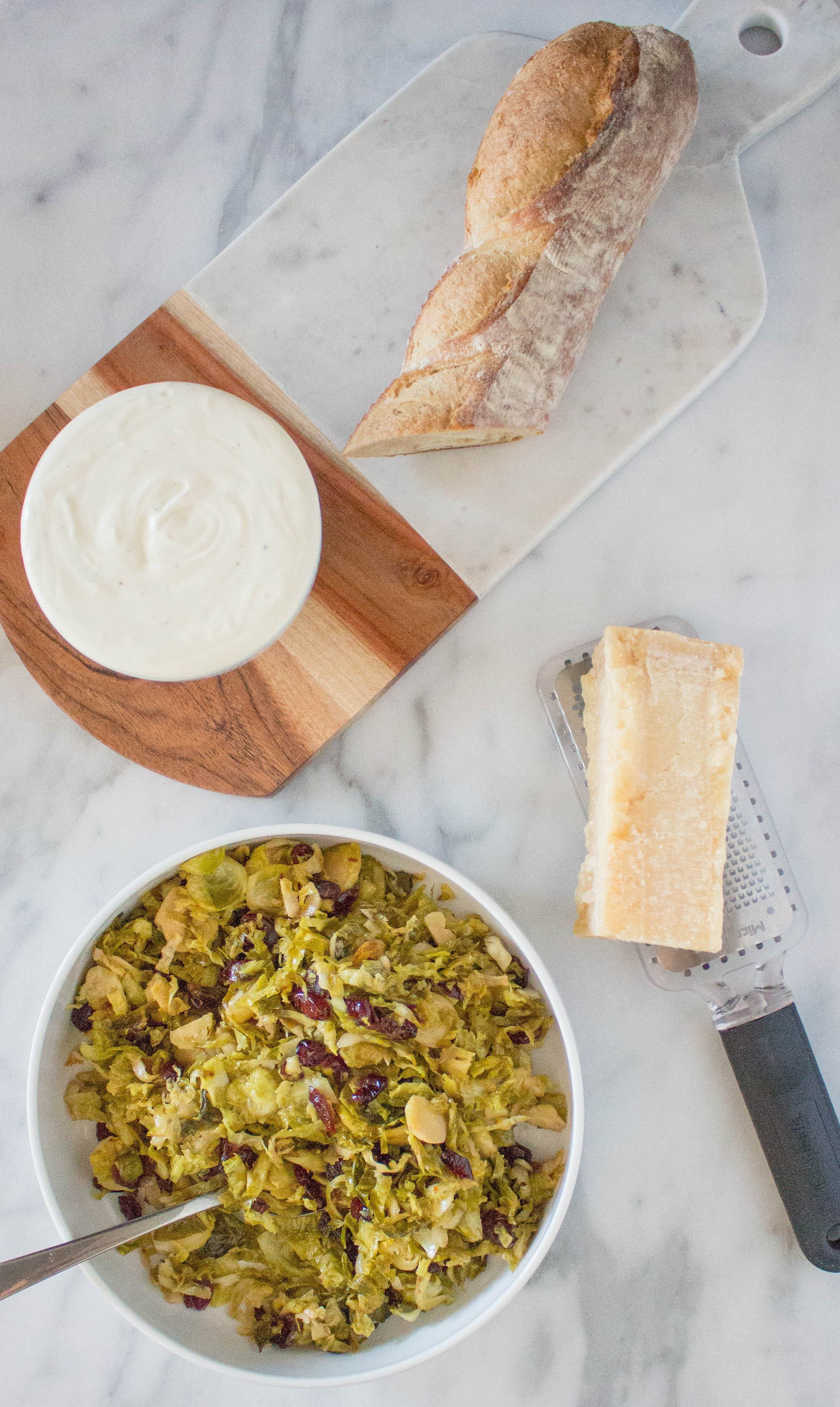 Agrodolce Brussels Sprout Crostini with Whipped Ricotta