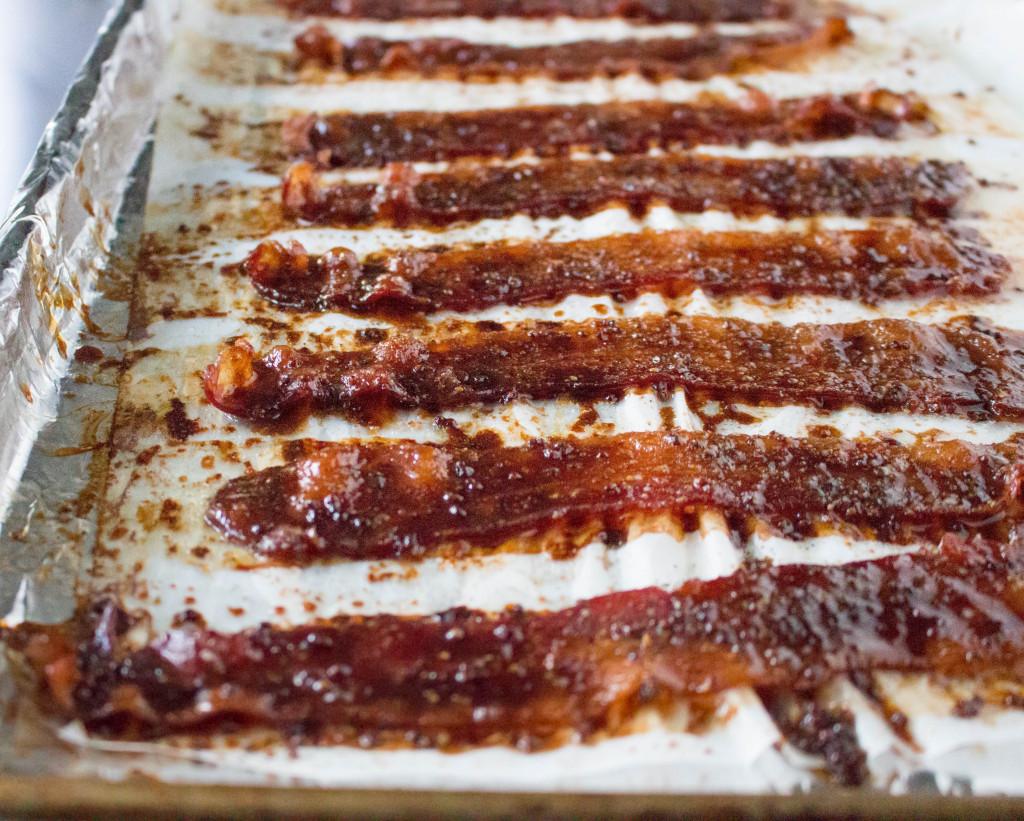 Cheeseburgers with Stout-Glazed Bacon, Crispy Onions, & Sriracha Aioli   yestoyolks.com
