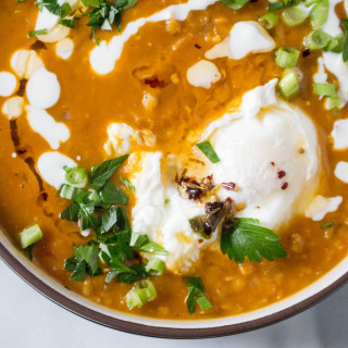 Lentil Soup with Poached Egg & Spiced Oil Drizzle