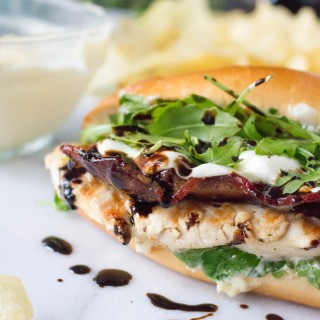 Grilled Chicken Sandwiches with Peppered Bacon & Lemon Aioli