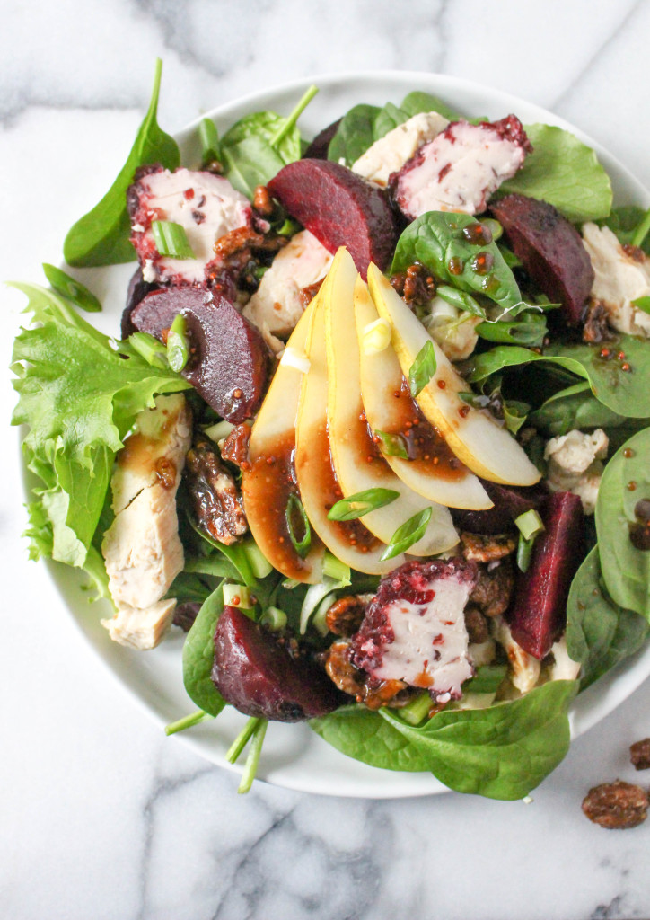 Grilled Chicken Salad with Goat Cheese, Roasted Beets, & Orange Balsamic Vinaigrette | yestoyolks.com