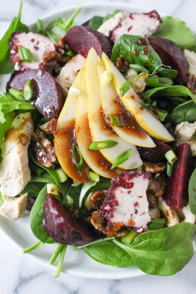 Grilled Chicken Salad with Goat Cheese, Roasted Beets, & Orange Balsamic Vinaigrette   yestoyolks.com