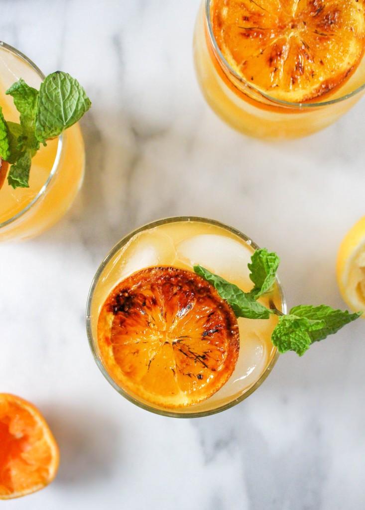 Boozy Clementine Lemonade with Brûléed Citrus & Mint | yestoyolks.com