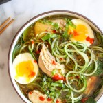 Herbed Chicken Pho with Zucchini Noodles & Soft-Boiled Eggs | yestoyolks.com