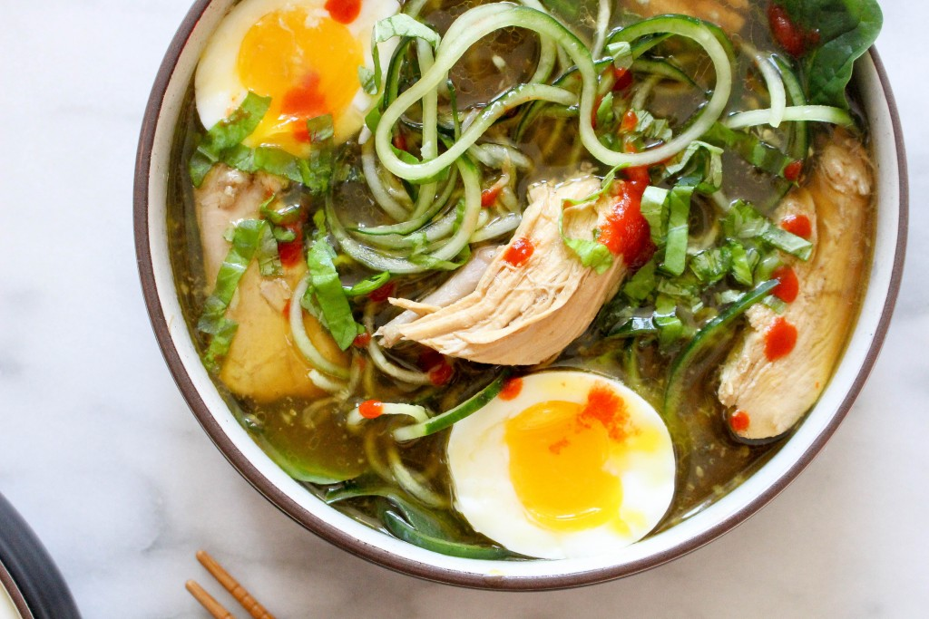 Herbed Chicken Pho with Zucchini Noodles & Soft-Boiled Eggs   yestoyolks.com