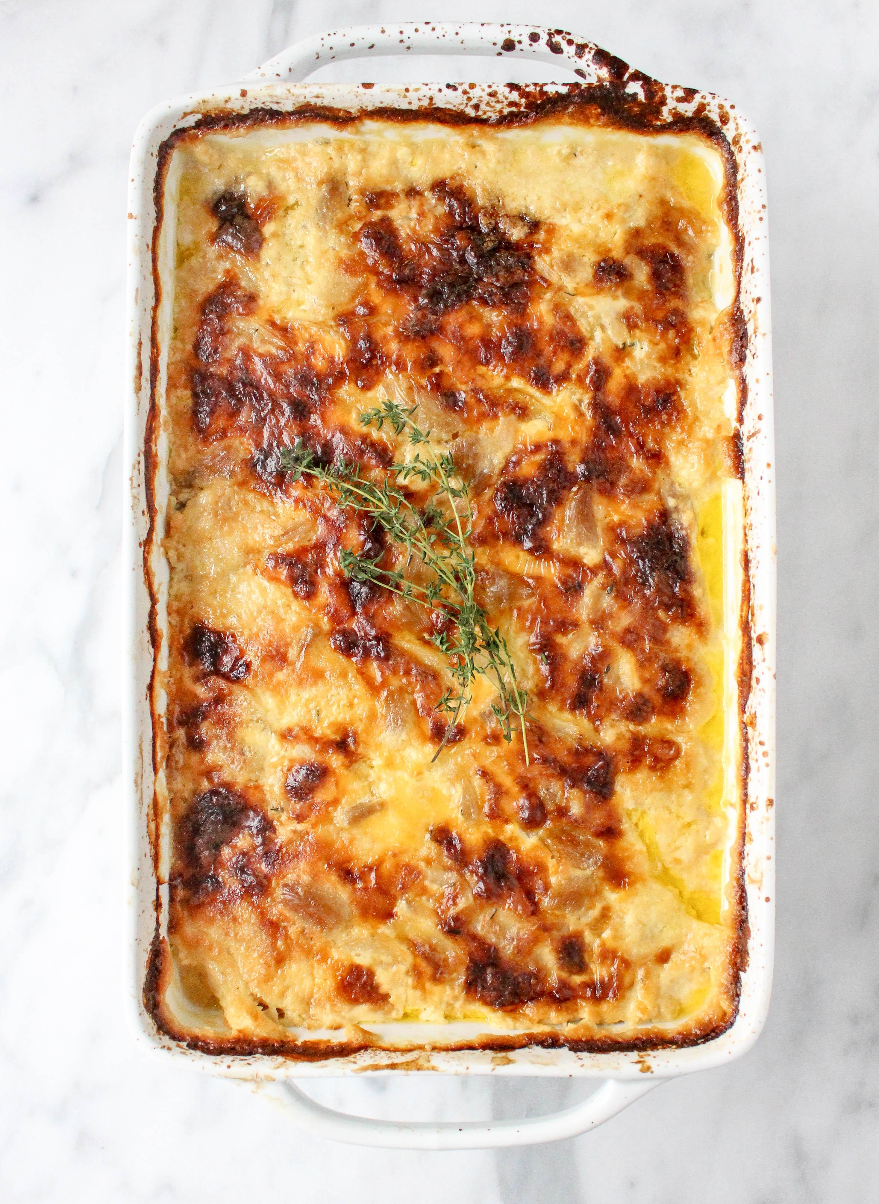 Roasted Garlic & Gouda Potato Gratin