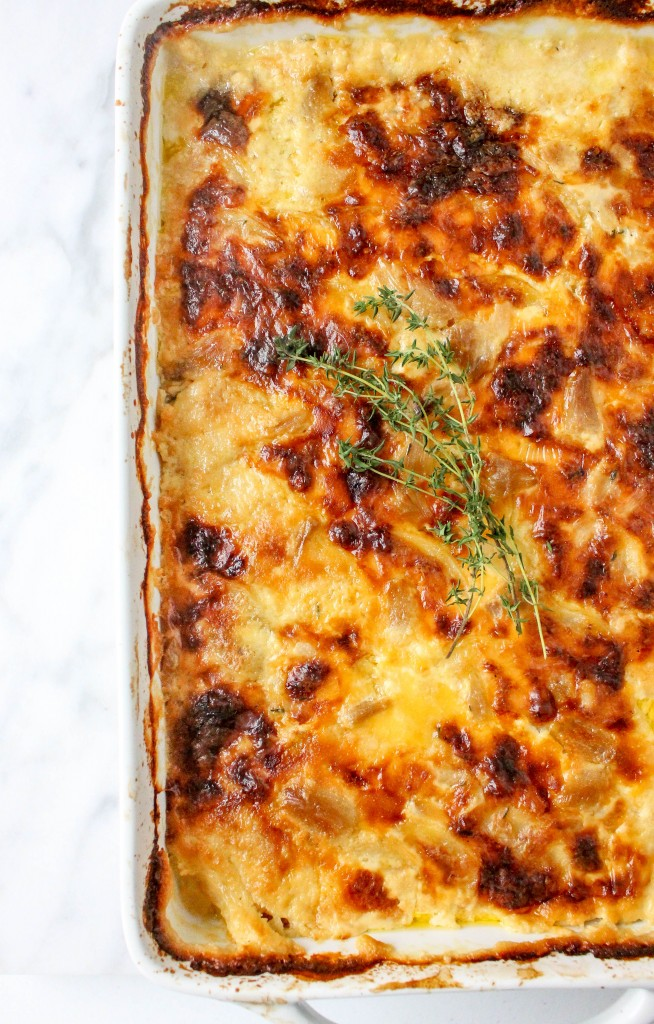 Roasted Garlic & Gouda Potato Gratin   yestoyolks.com