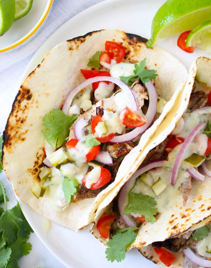 Mojo Pork Tacos with Herby Cheese Sauce   yestoyolks.com