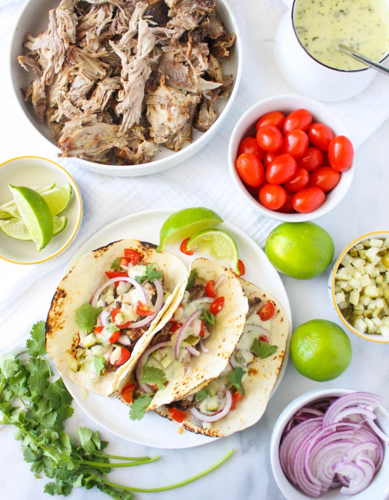 Mojo Pork Tacos with Herby Cheese Sauce | yestoyolks.com