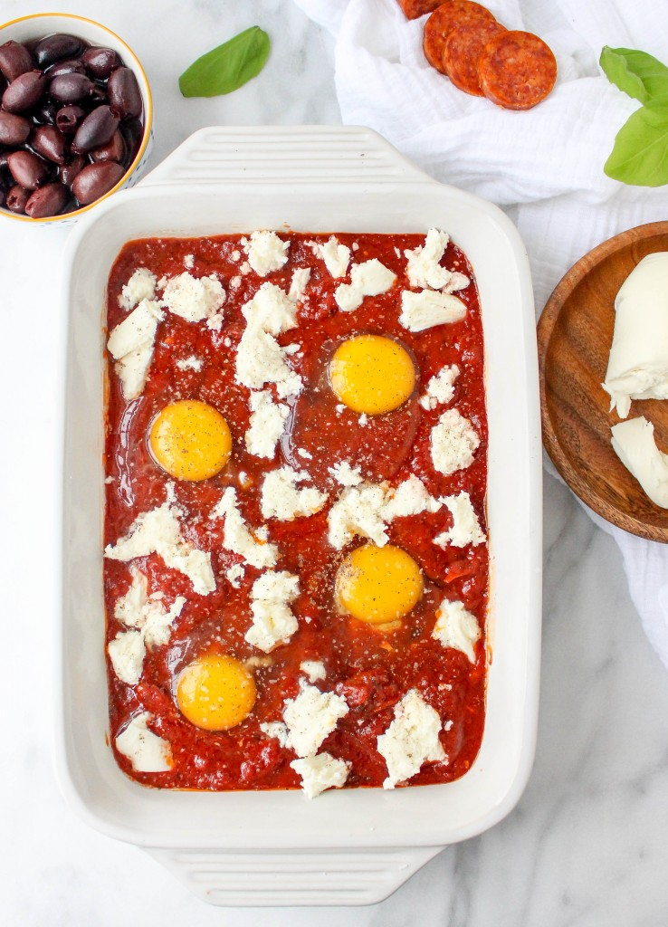 Baked Eggs with Pepperoni & Fresh Mozzarella | yestoyolks.com