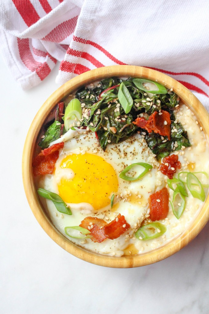 Savory Cheddar Oatmeal with Bacon, Garlicky Greens, & Eggs | yestoyolks..com