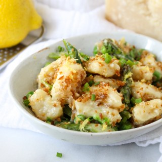 Ricotta Gnocchi with Asparagus, Peas, & Garlicky Breadcrumbs