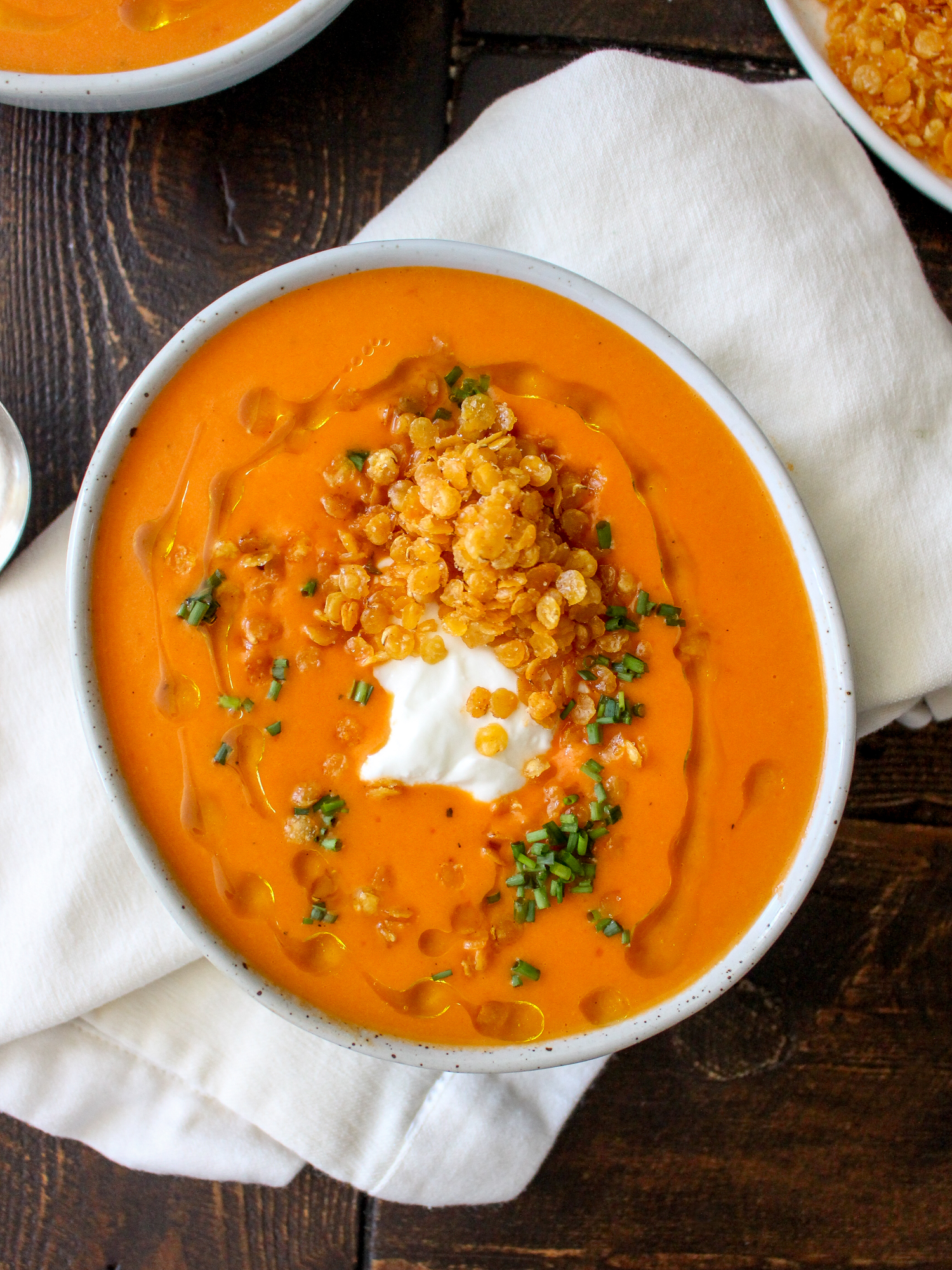 Creamy Roasted Red Pepper Soup with Crispy Fried Lentils