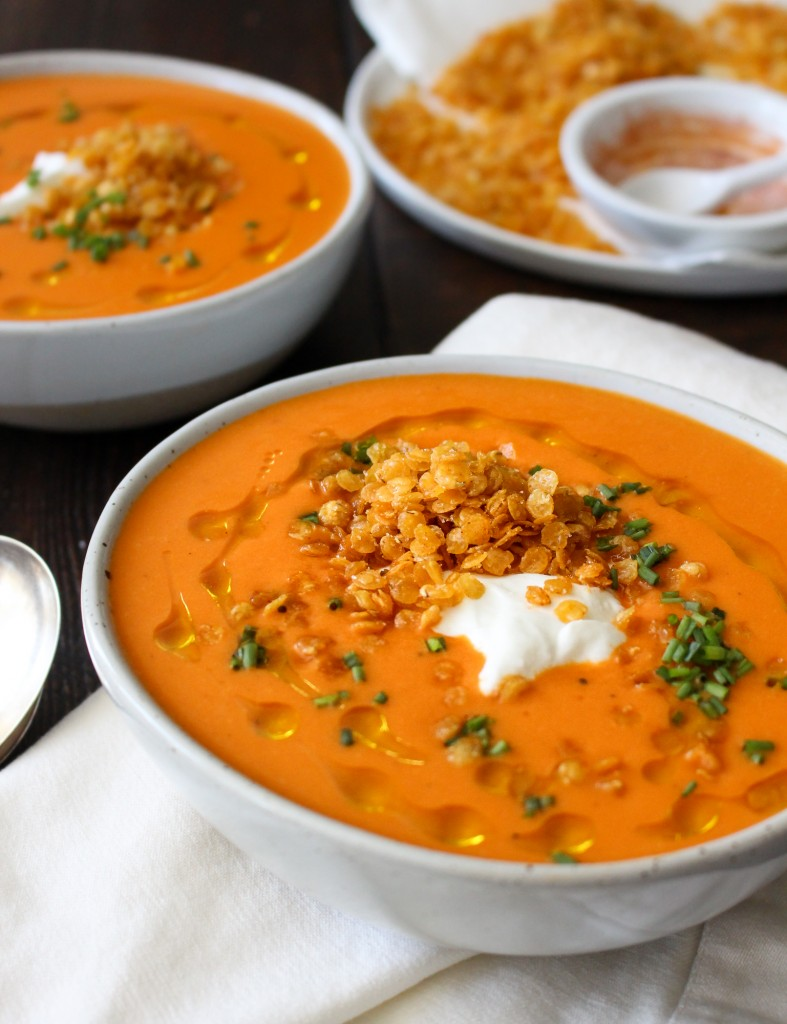 Creamy Roasted Red Pepper Soup with Crispy Fried Lentils   yestoyolks.com