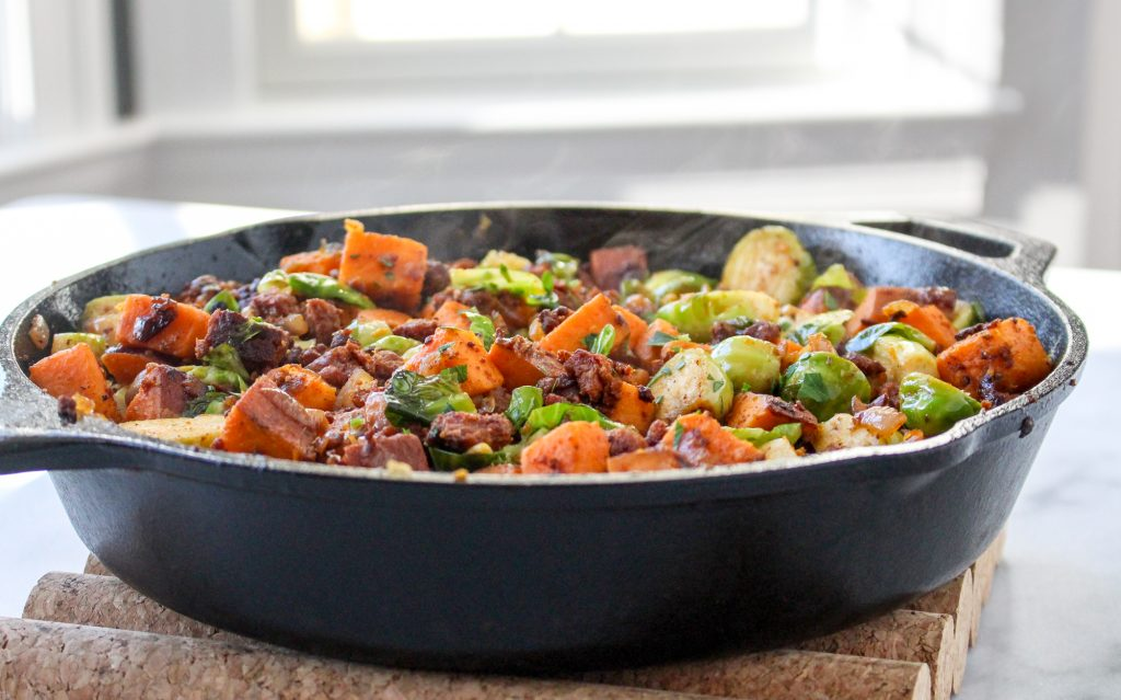 Brussels Sprout, Sweet Potato, & Chorizo Hash with Eggs | yestoyolks.com