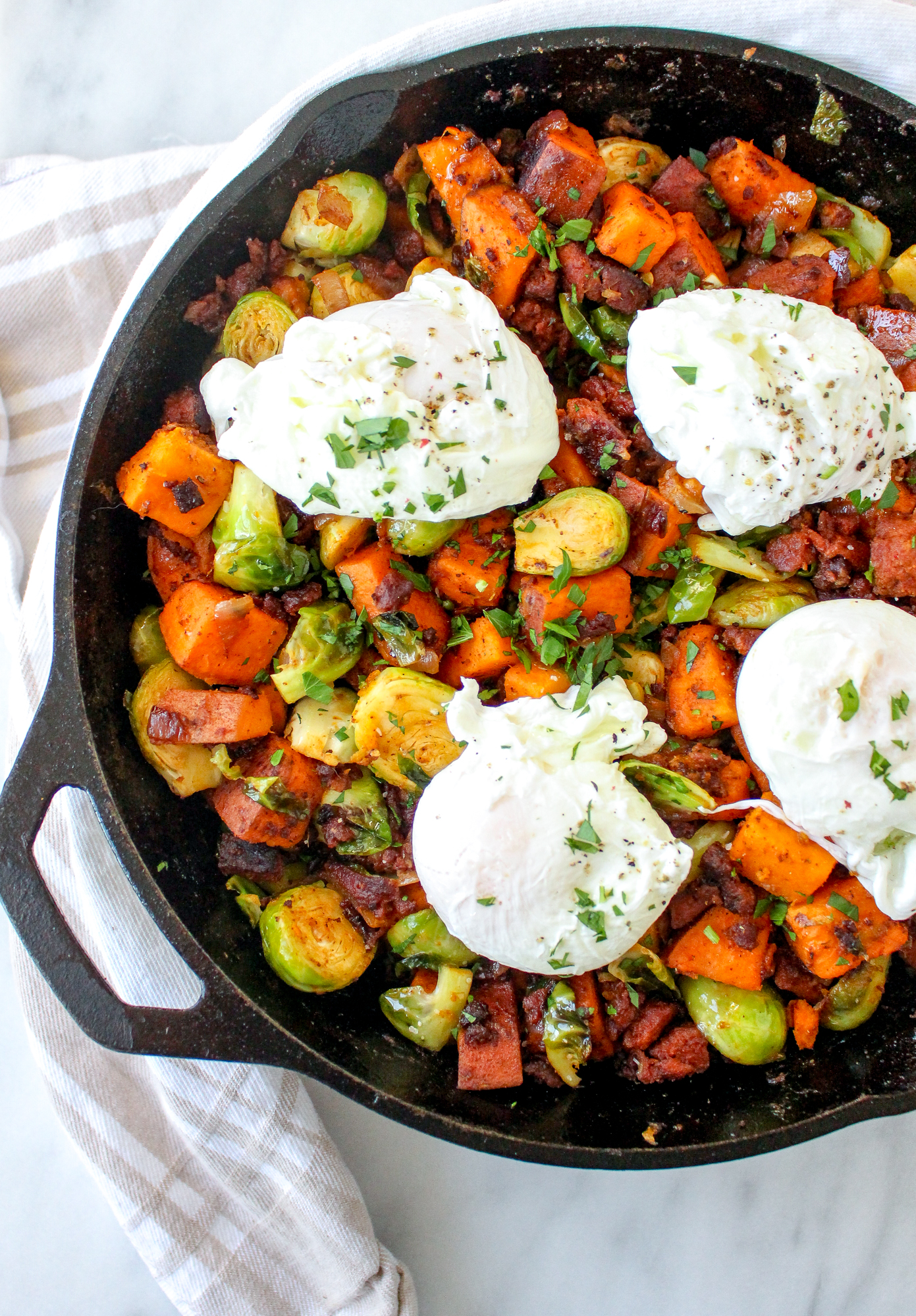 Brussels Sprout, Sweet Potato, & Chorizo Hash with Eggs