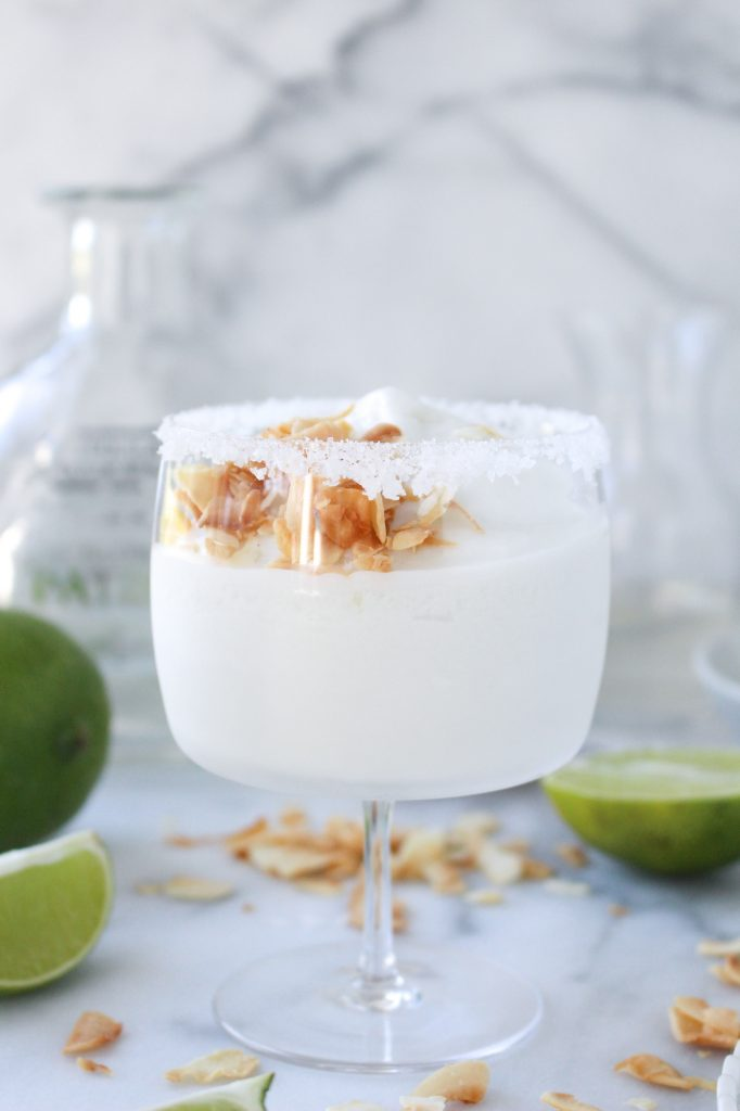 Coconut Margarita Slushies (made in an ice cream machine!) | yestoyolks.com